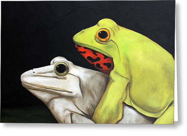 Froggy Style Edit 2 Greeting Card by Leah Saulnier The Painting Maniac