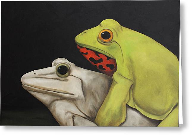 Froggy Style Greeting Card by Leah Saulnier The Painting Maniac