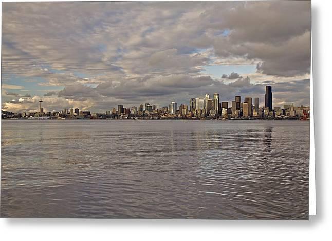 from Alki Beach Seattle skyline Greeting Card