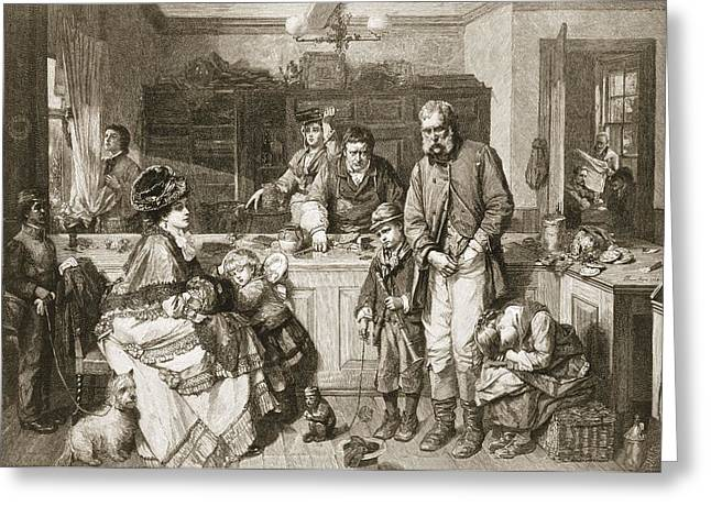 From Hand To Mouth, Engraved By J.m Greeting Card by Thomas Faed