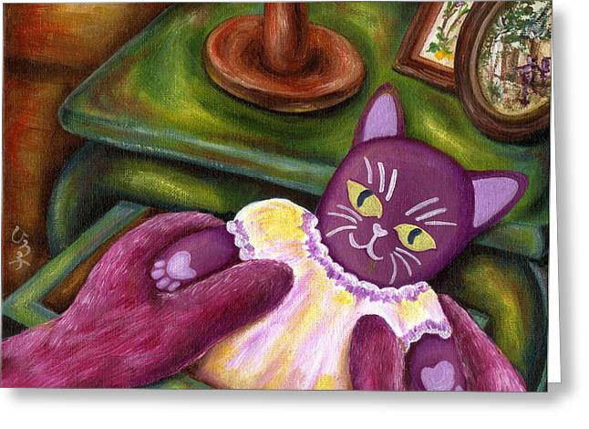 Greeting Card featuring the painting From Purple Cat Illustration 20 by Hiroko Sakai