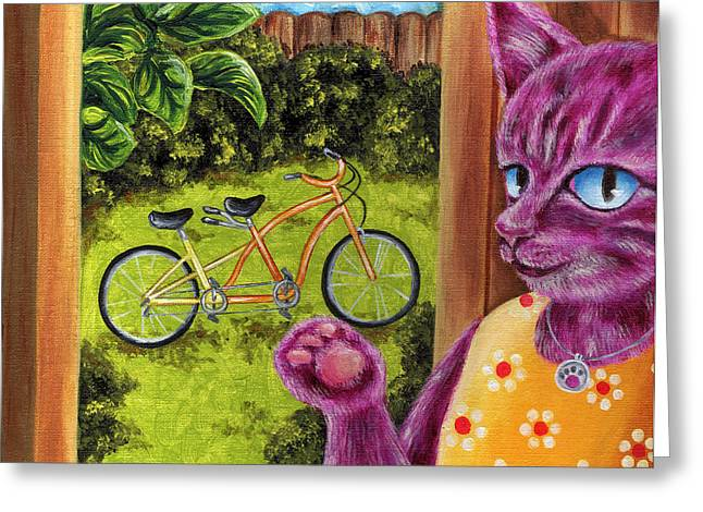 Greeting Card featuring the painting From Purple Cat Illustration 22 by Hiroko Sakai