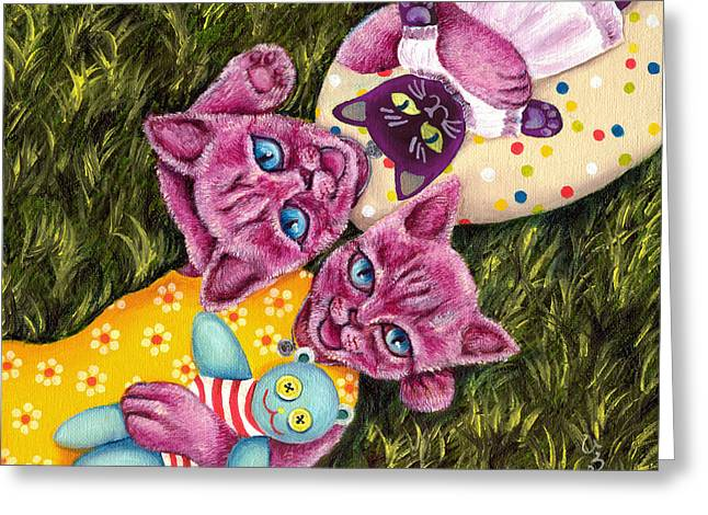 Greeting Card featuring the painting From Purple Cat Illustration 23 by Hiroko Sakai
