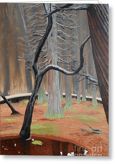 Greeting Card featuring the painting In The Atlantic White Cedar Swamp by Robert Coppen