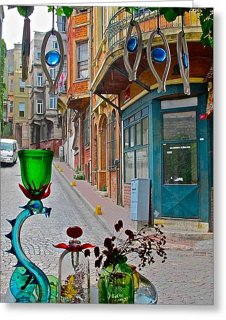 From The Glass-maker's Window Greeting Card by Ayse Taskiran