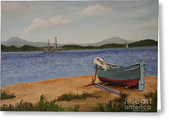 Greeting Card featuring the painting From The Shore by Dwayne Glapion