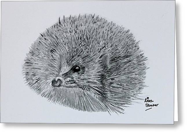 Hedgehog Pencil Sketch From Under The Prickles Greeting Card