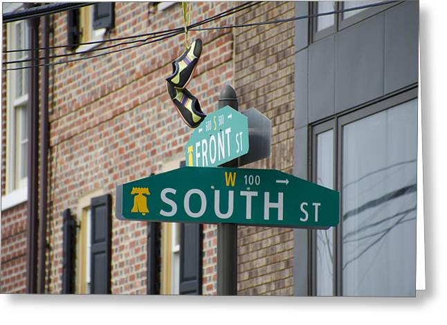 Front And South Street Sign Greeting Card