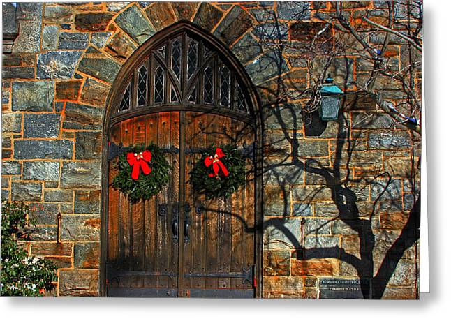 Front Door To Baldwin Memorial United Methodis Greeting Card by Andy Lawless