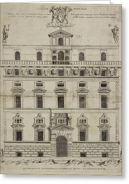 Front Elevation Of A Baroque Building In Greeting Card by British Library