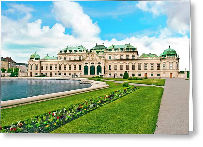 Front Facade Of Schloss Schonbrunn Greeting Card