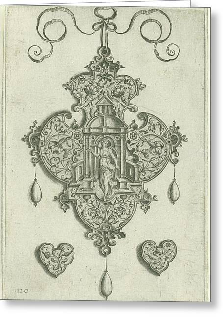 Front Of A Pendant Pendeloque, In The Center A Niche Greeting Card