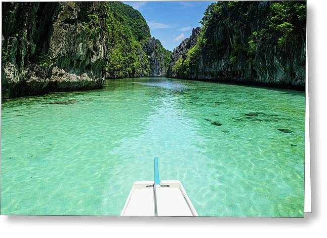 Front Of An Outrigger Boat In The Clear Greeting Card by Michael Runkel