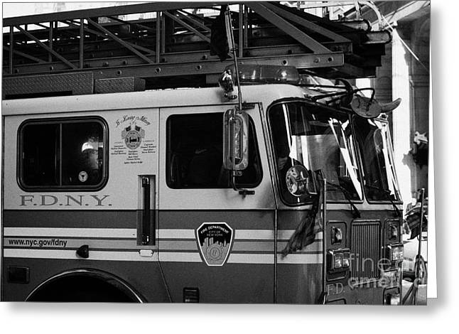front of FDNY fire engine new york city Greeting Card by Joe Fox