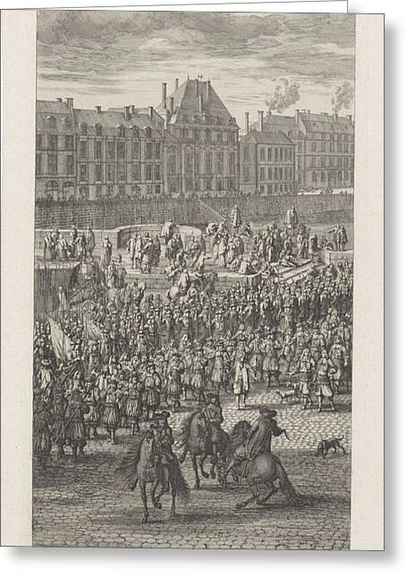 Front Of The Procession Of King Louis Xiv Of France Greeting Card by Jan Van Huchtenburg And Adam Frans Van Der Meulen