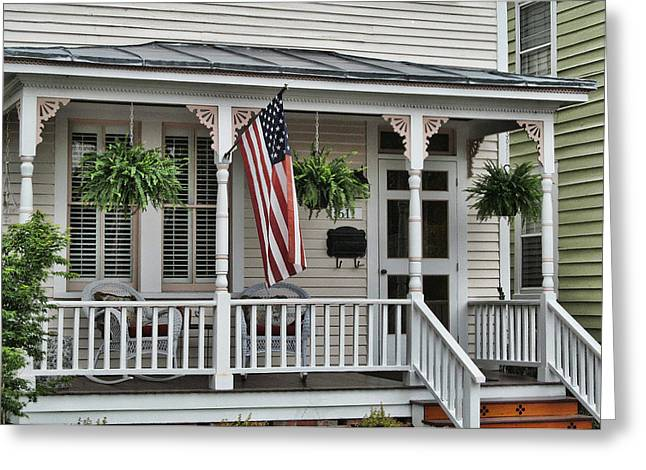 Front Porch Flag Greeting Card by Victor Montgomery