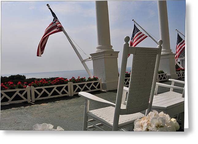 Front Porch II Grand Hotel On Mackinac Island Greeting Card