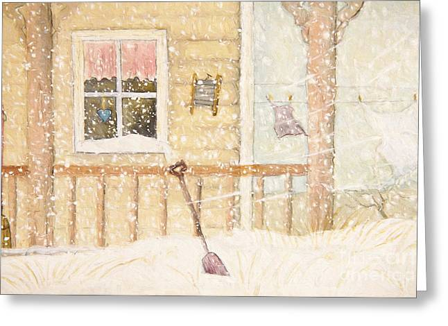 Front Porch In Snow With Clothesline/ Digital Watercolor Greeting Card by Sandra Cunningham