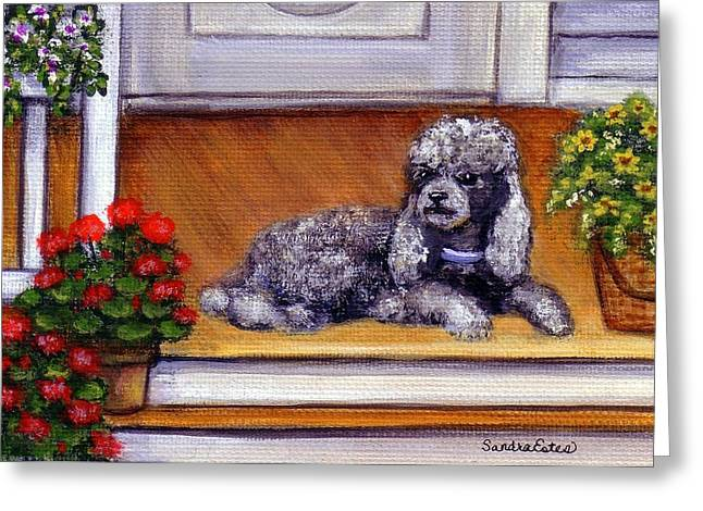 Front Porch Poodle Greeting Card