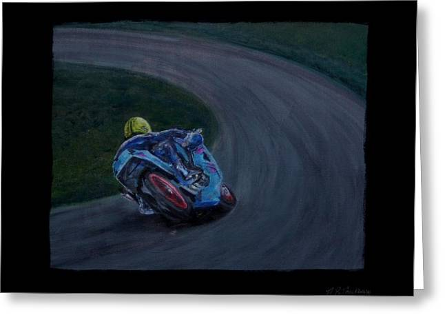 Front Runner Joey Dunlop Greeting Card by Andrew Roy Thackeray