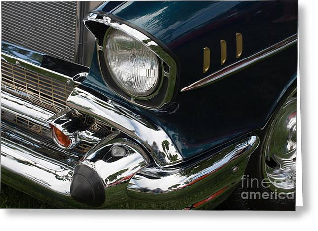 Greeting Card featuring the photograph Front Side Of A Classic Car by Gunter Nezhoda
