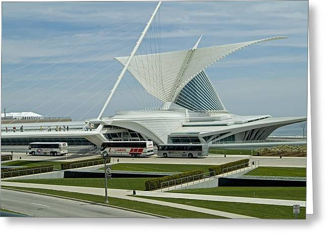 Front View Milwaukee Art Museum Greeting Card by Devinder Sangha