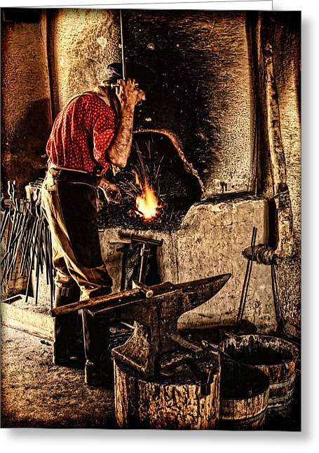 Frontier Blacksmith At The Forge Greeting Card