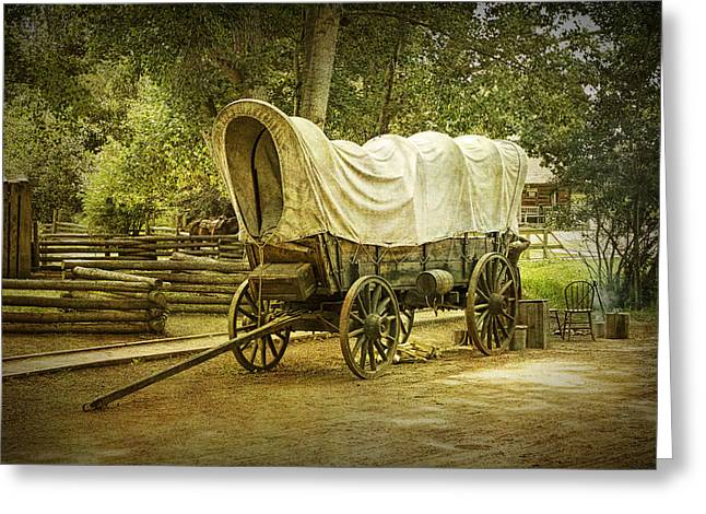 Frontier Covered Wagon Greeting Card by Randall Nyhof