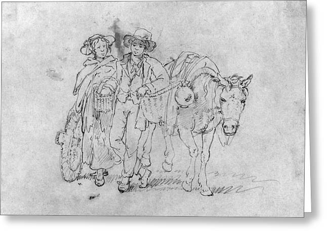 Frontiersman & Wife Greeting Card by Granger