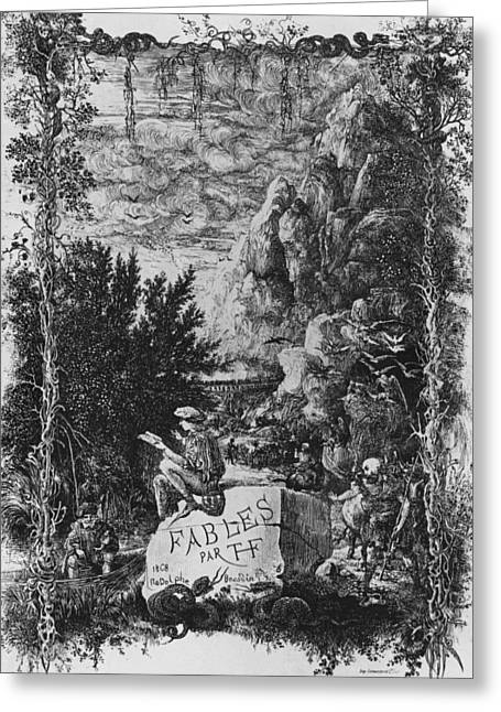 Frontispiece Illustration From Fables By Hippolyte De Thierry-faletans Greeting Card by Rodolphe Bresdin