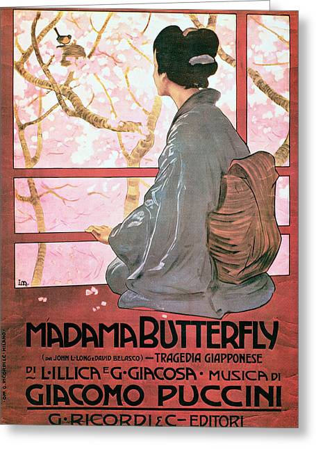 Frontispiece Of The Score Sheet For Madame Butterfly By Giacomo Puccini 1858-1924 Colour Litho See Greeting Card