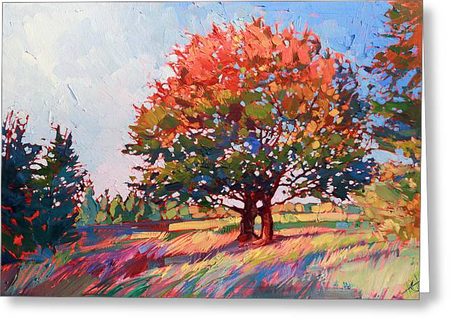 Frosted Oak Greeting Card by Erin Hanson