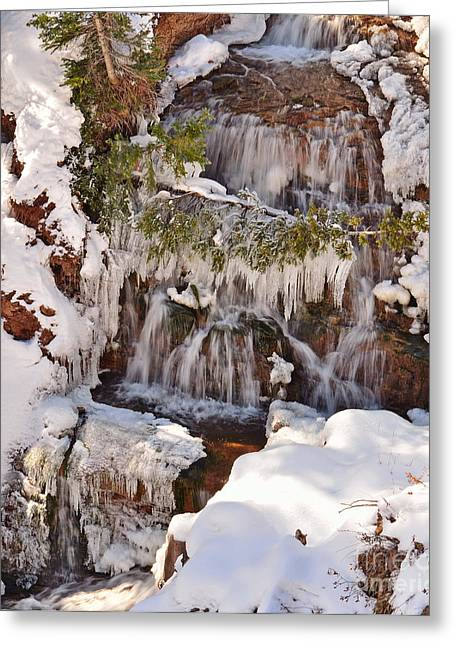 Frosty Cascades Greeting Card