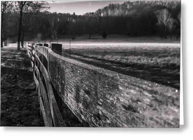 frosty fence in rural Indiana Greeting Card