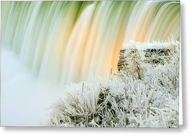 Niagara Falls Illuminated With Winter Frost Greeting Card