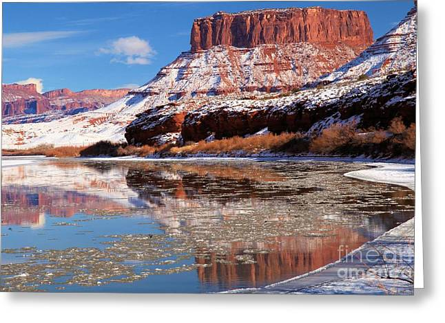 Frosty Red Rock Reflections Greeting Card