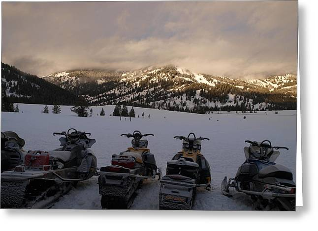 Frosty Snowmobiles Greeting Card by Jenessa Rahn
