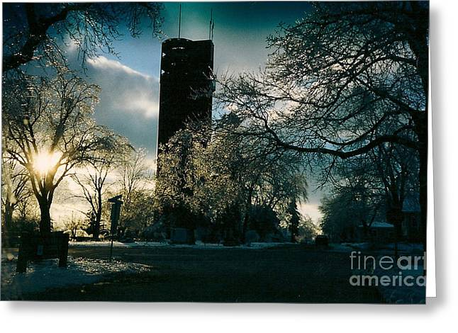 Frosty Sunrise At Tower Park Greeting Card