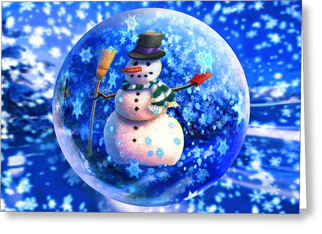 Frosty The Snowglobe Greeting Card by Robin Moline