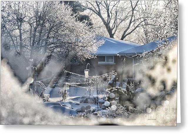 Frosty Winter Window Greeting Card by Thomas Woolworth