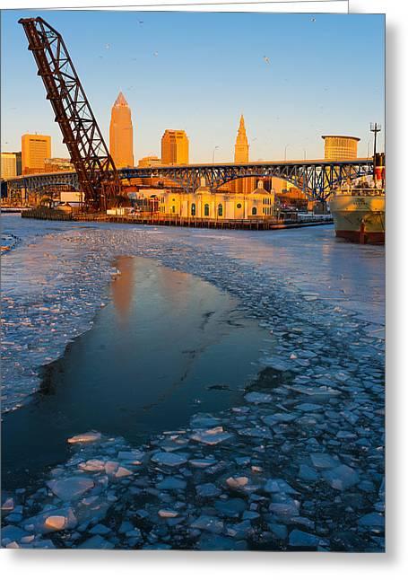 Frozen Cleveland Flats Skyline At Sunset Greeting Card