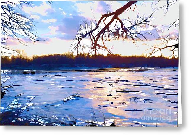 Frozen Delaware River Sunset Greeting Card