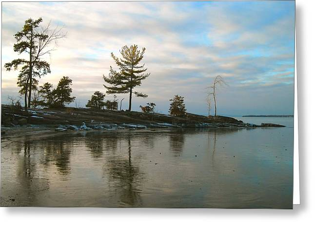 Frozen Lake At Dusk Greeting Card