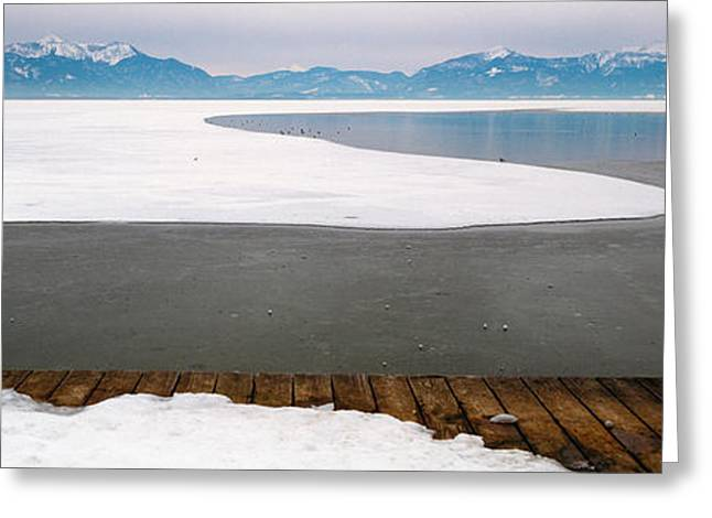 Frozen Lake In Front Of Snowcapped Greeting Card