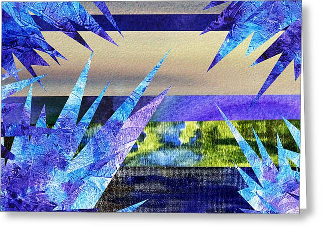 Frozen  Landscape Abstract Collage Greeting Card