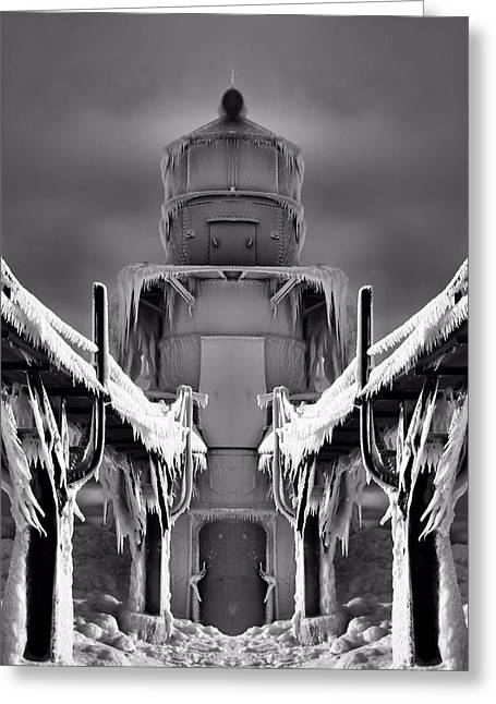 Frozen Lighthouse And Pier Surreal Greeting Card