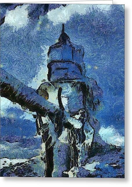 Frozen Lighthouse On Lake Michigan Greeting Card by Dan Sproul