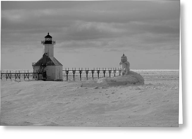 Frozen Lighthouses In Michigan Greeting Card