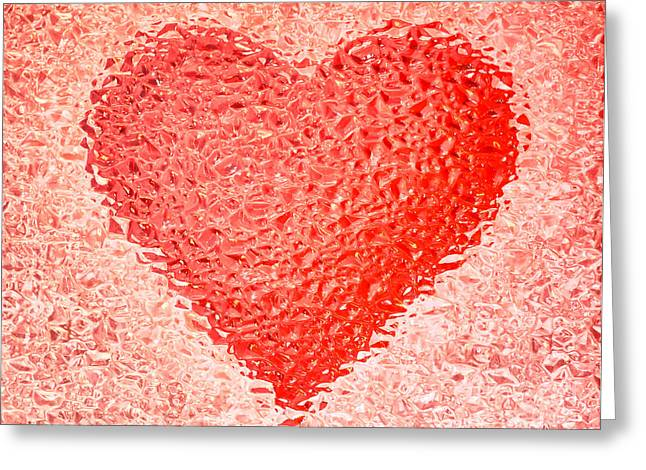 Frozen Red Heart Greeting Card by Mikhail Golovastikov
