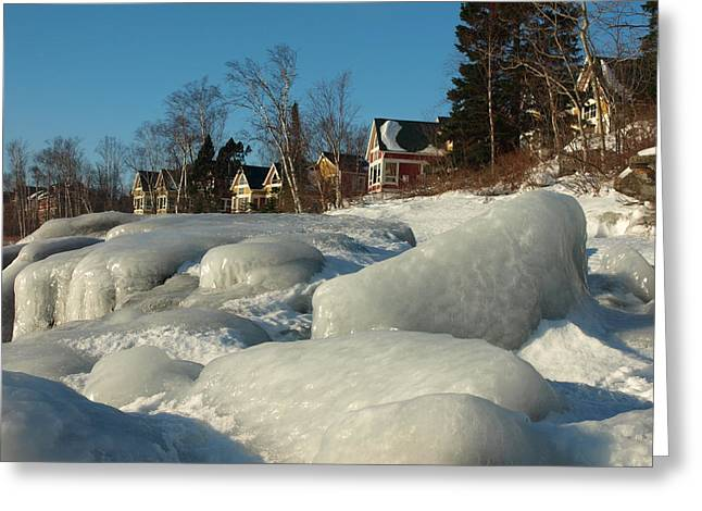 Greeting Card featuring the photograph Frozen Surf by James Peterson